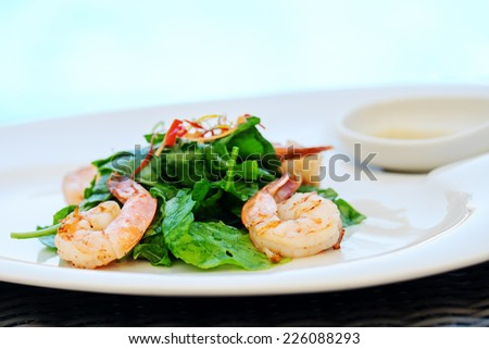 Shrimps. Prawn salad. Healthy Shrimp Salad with greens. - stock photo