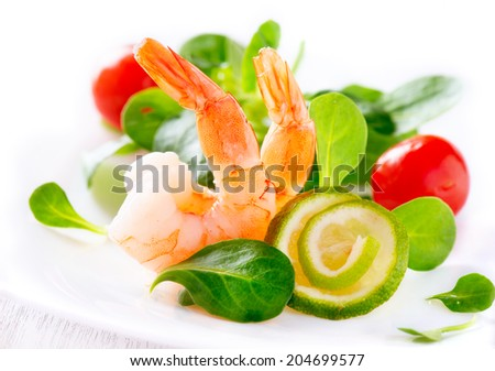 Shrimps. Prawn salad. Healthy Shrimp Salad with mixed greens and tomatoes. Diet. Weight Loss Food - stock photo