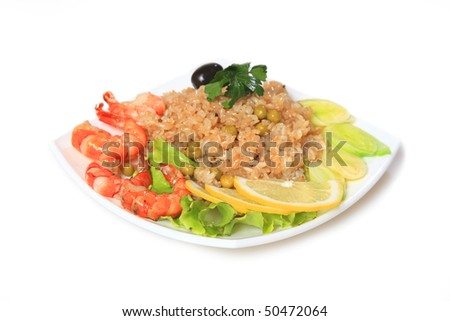 Shrimps with rice and peas.East,Asian food. - stock photo
