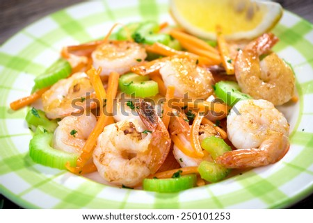Shrimps with vegetable   - stock photo