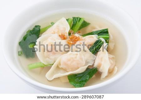Shrimps Wonton Soup - stock photo