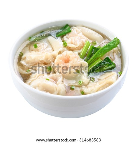 Shrimps Wonton Soup isolated on white background - stock photo