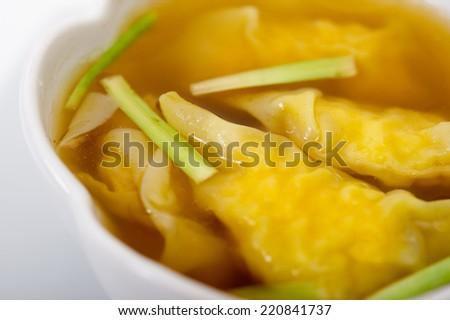 Shrimps Wonton Soup,Prawn wonton cantonese style, in soup,Wonton - stock photo