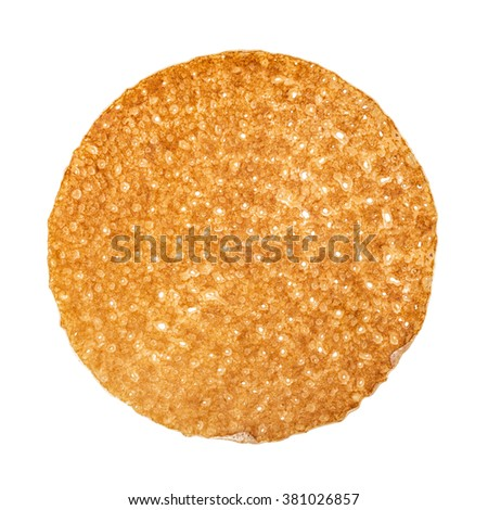 Shrovetide, Maslenitsa, fishnet pancake, flapjack,slapjack,  isolated on the white - stock photo