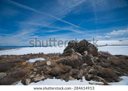 Shrubs rocks and snow field in the mountains of California's High Sierra Nevada range. - stock photo