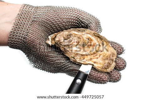 Shuck, opening french oysters - stock photo