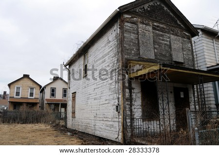 Shuttered and rotten, a house is destined to be leveled in Braddock, Pennsylvania - stock photo