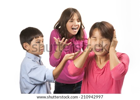 Shutting out nagging kids. - stock photo