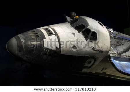 Shuttle Atlantis at Cape Canaveral, Kennedy Space Center with black background.  Elements of this image furnished by NASA. - stock photo