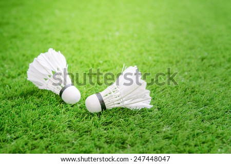 Shuttlecock for badminton on green grass - stock photo