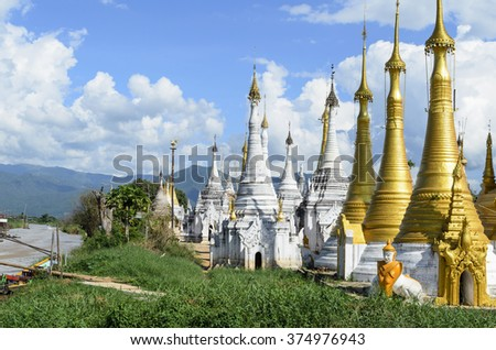 Shwe Inn Thein pagoda at Indein village near Inle Lake, Shan state, Burma (Myanmar) - stock photo