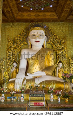 Shwe Myet Man Paya (or) the Buddha Image with the Golden Spectacles is situated in a town called Shwedaung, near Pyay in Bago Division, Myanmar. - stock photo