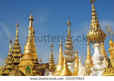 Shwedagon pagoda in Yangon, Myanmar (Burma) - stock photo