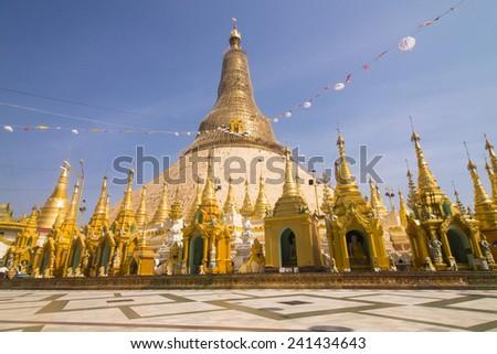 shwedagon pagoda - Myanmar famous sacred and tourist landmark, Yangon, Myanmar  - stock photo