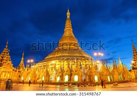 Shwedagon Paya pagoda Myanmer famous  place and tourist attraction landmark.Yangon, Myanmar - stock photo