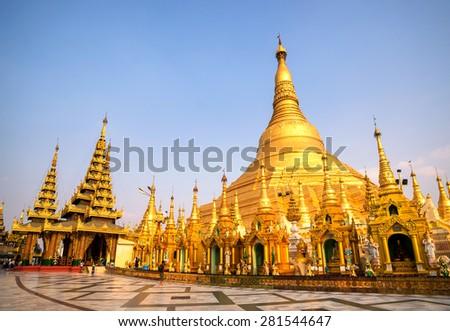 Shwedagon Paya pagoda Myanmer famous sacred place and tourist attraction landmark.Yangon, Myanmar - stock photo