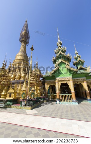 Shwenattaung Pagoda, Shwedaung, Pyay in Myanmar.  - stock photo