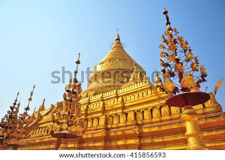 Shwezigon Pagoda,Bagan,Myanmar - stock photo