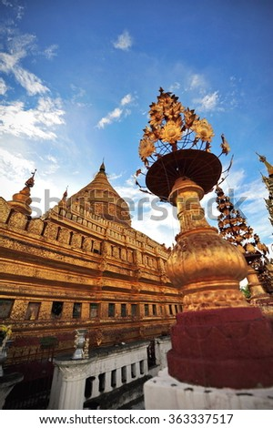 Shwezigon Pagoda, famous for its gold-leaf stupa in Bagan, ancient city of Myanmar - stock photo