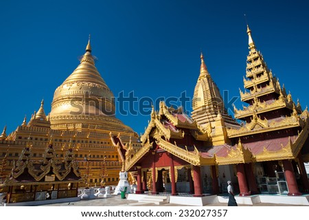 Shwezigon Paya, Bagan , Myanmar. - stock photo