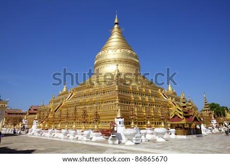 Shwezigon Paya, Bagan, Myanmar. - stock photo