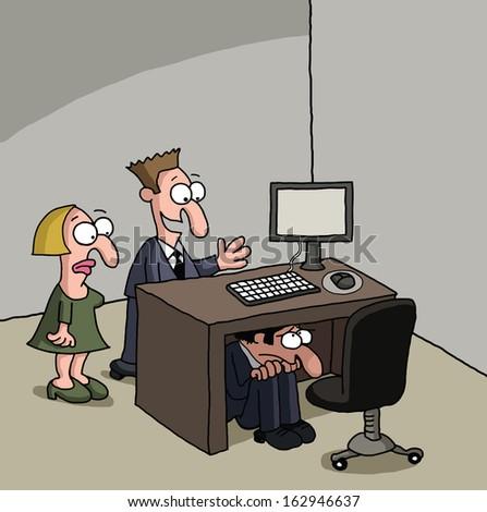 Shy male new office worker cartoon - stock photo