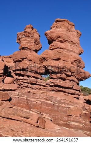 Siamese twins rock formation and landmark in Garden of the Gods  - stock photo