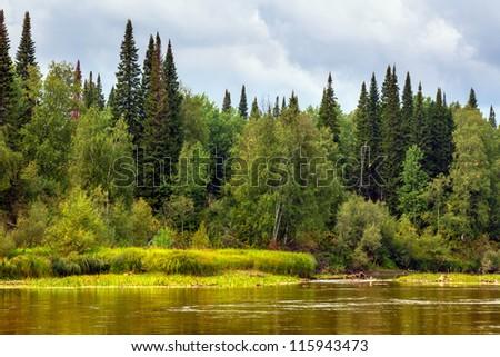Siberian landscape - stock photo