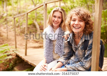 Siblings sitting on a wooden bridge in a forest, portrait - stock photo