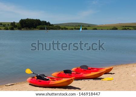 Siblyback Lake near Liskeard Bodmin Moor Cornwall England UK where people enjoy sailing and water sports  - stock photo