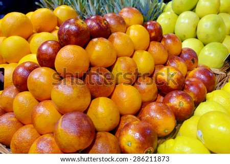 Sicilian red oranges on display in a supermarket - stock photo