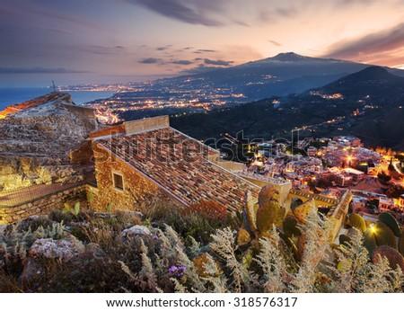 Sicily, aerial view of Etna volcano from Taormina - stock photo