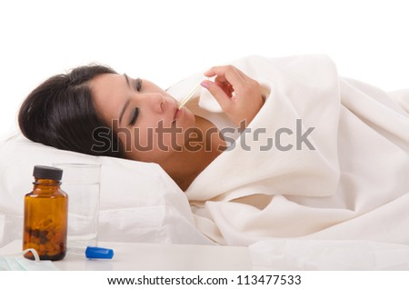 sick asian girl with high fever ,isolated on white - stock photo