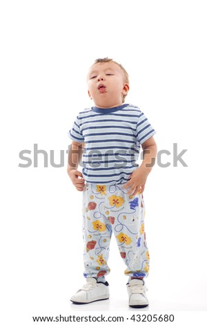 Sick Baby Boy - Coughing, Isolated over a white background - stock photo