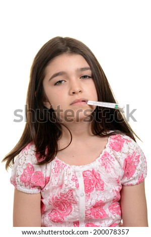 sick child with thermometer - stock photo