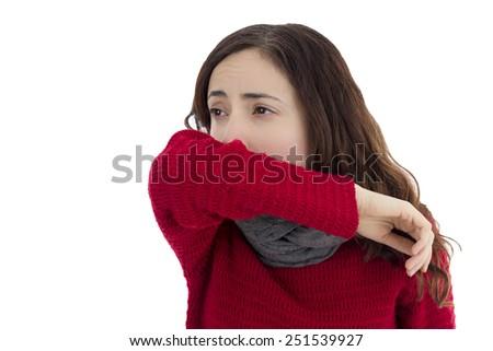 Sick flu woman coughing - stock photo