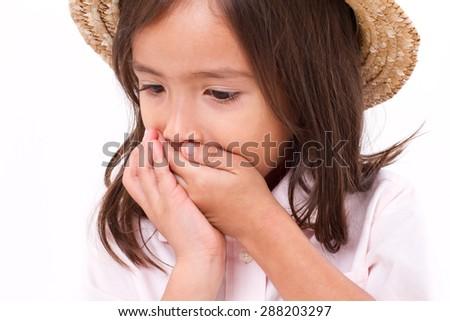 sick girl with nausea or indigestion symptom - stock photo