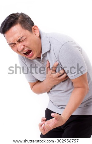 sick man suffering from heart attack - stock photo