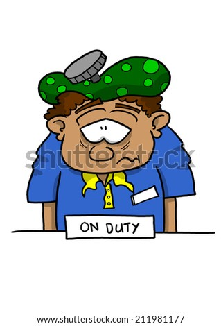 Sick on duty employee at counter tan skin - stock photo