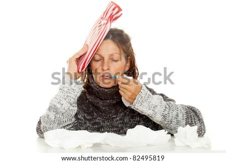 sick woman - stock photo