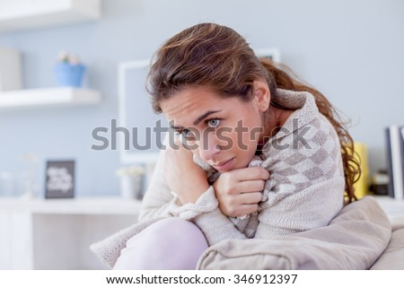 Sick Woman, Flu Woman. Caught Cold. Woman with hard headache, shallow depth of field - stock photo