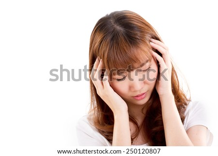 sick woman suffers from headache pain, migraine, insomnia, hangover - stock photo