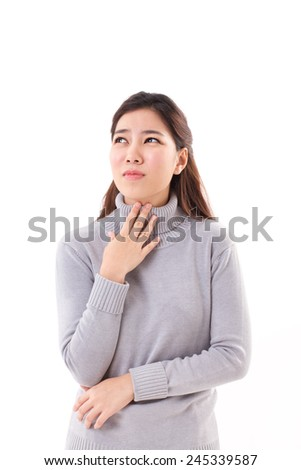 sick woman with sore throat, winter outfit - stock photo