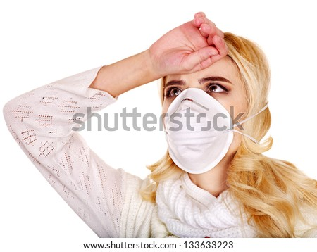 Sick young woman in medical mask. - stock photo