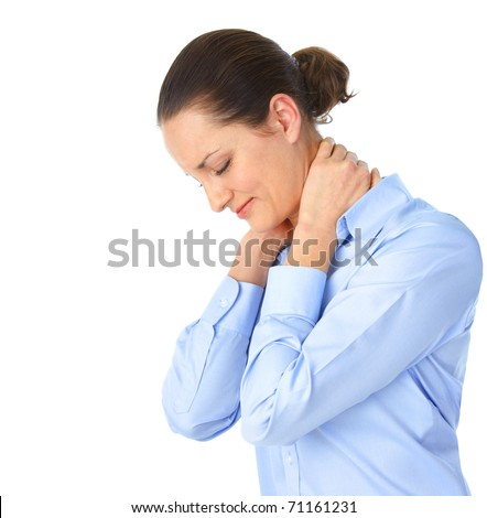 Sick young woman. neck pain - stock photo