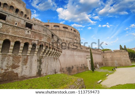 Side external View of Castel Santangelo in Rome - Italy - stock photo