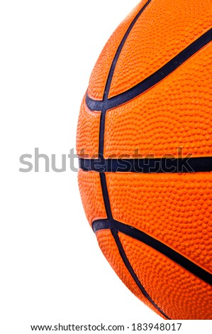 Side of Basketball close up on isolated for background and texture. - stock photo