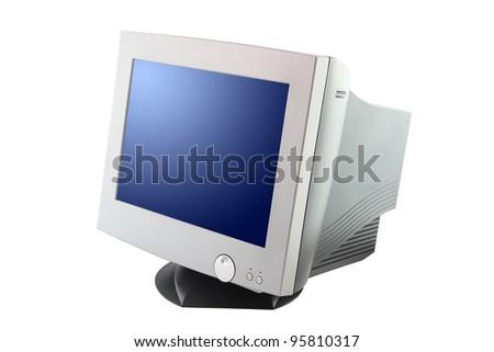 Side of cathode ray tube monitor on white background. - stock photo