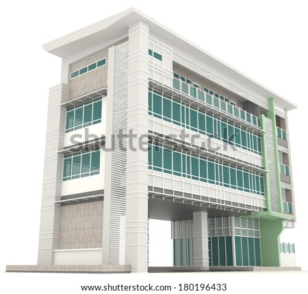 Side of 3D modern office building architecture exterior design in white isolated background 2, create by 3D  - stock photo
