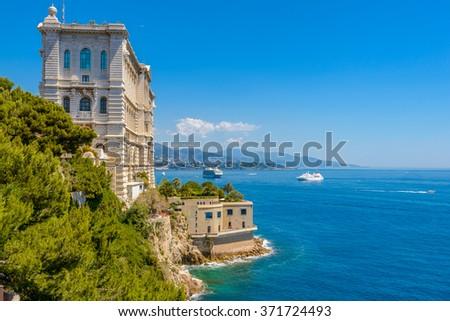 Side of Oceanographic Institute museum in Principality of Monaco - stock photo